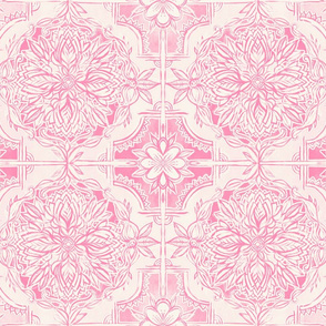 Pink Hand Painted Watercolor Tile Pattern