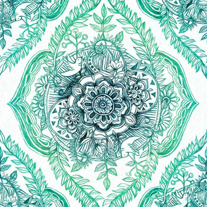 Indian Ink Floral Doodle in Emerald Green