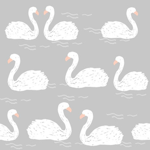 Swans in the Pond (Larger Version) - Grey by Andrea Lauren