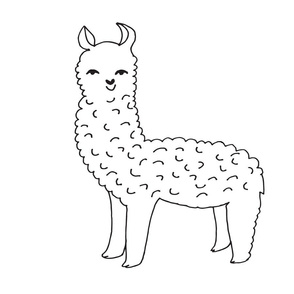 llama // alpaca black and white cut and sew plush plushie one llama per FQ