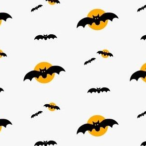 halloween bats, black bat orange moon grey background