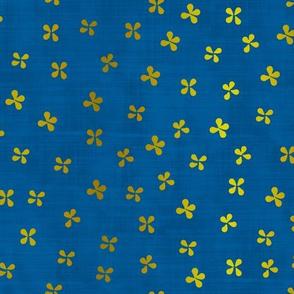 Fleurs à papillon dorées bleu nuit