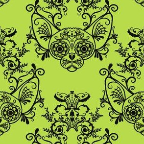 Sugar Skull Sphynx Cat Damask Lime Green