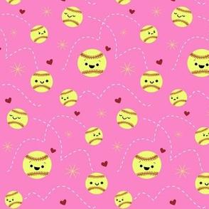 Happy Softball All Stars - Pink