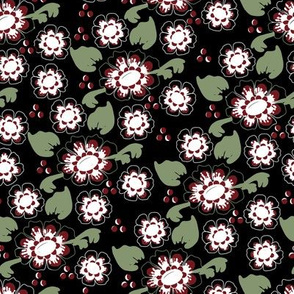 Black, Green, and Red Delft