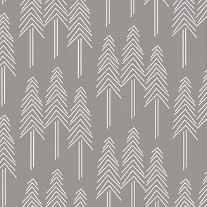 Forest Pine Trees Grey/White