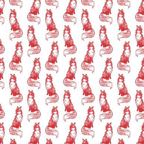 Foxy Loxy Red on White