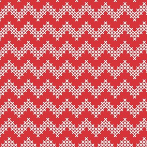 Foxy Cross Stitch Chevron in Red