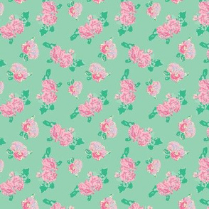 Bright Spring Rose Garden Mint and Pink