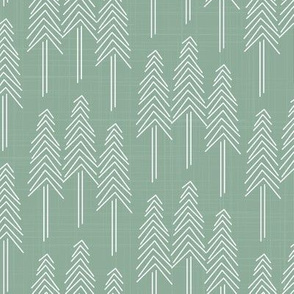 Forest Pine Trees Green/White