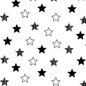 Stars Scattered - Black on White