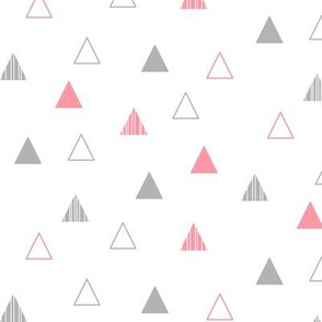 Cheeky Triangles - Coral and Gray on White