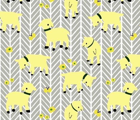 Yellow Goats on Grey Herringbone