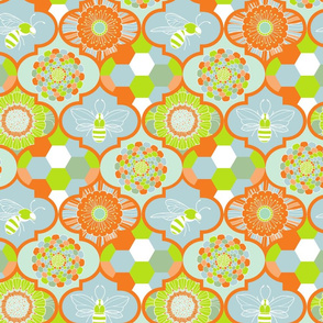 bee flower and hexagon orange