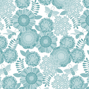 bee garden tonal blue
