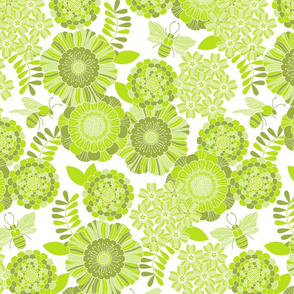 bee garden tonal green