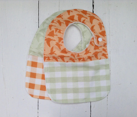 birds orange gingham
