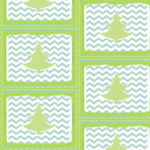 Chevron Green Tree Quilt-SMALL