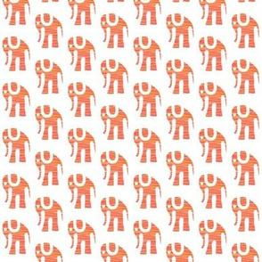Orange Batik Elephants on White