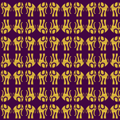 Gold Elephants on Purple Double