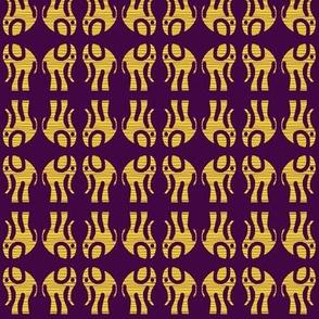 Gold Elephants on Purple Mirrored