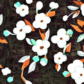 white flowers - aqua and orange