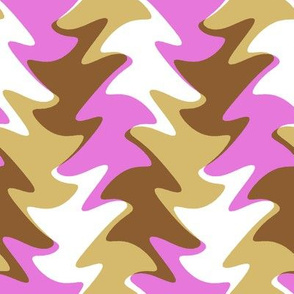 leaf swirl in fuchsia, chocolate, and caramel