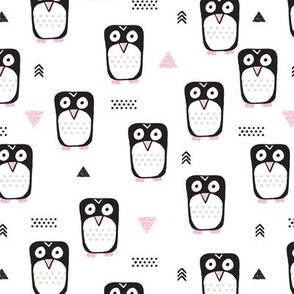 Cute geometric penguins for girls black white and pink illustration for winter