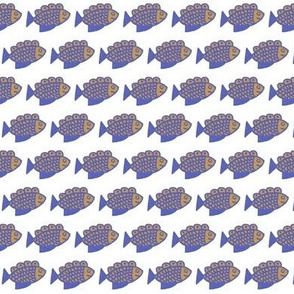 Blue and Tan Fish on White