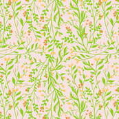 Tangled Green on Pale Pink