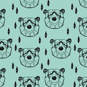 Geometric Bear Head - Pale Blue (Small Version) by Andrea Lauren