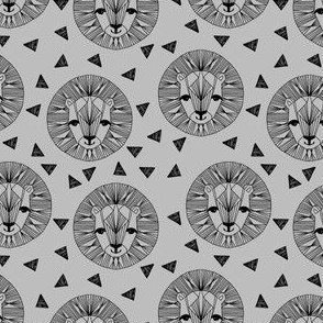 Lion Face - Slate and Black (Small Version) by Andrea Lauren