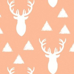 Pink and White Deer Heads Triangles Solid Melon