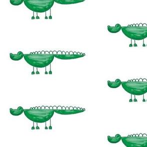 green crocodile with half circles
