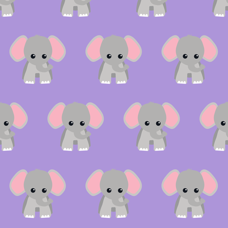 Baby elephant purple fabric rainbowsandbuttons spoonflower for Purple baby fabric