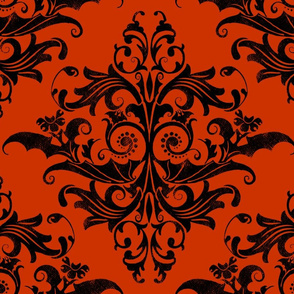 Calvarium Damask - black on red