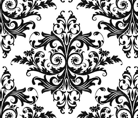 Calvarium Damask - black on white