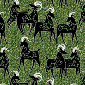 In a field of abstract clover: Goats
