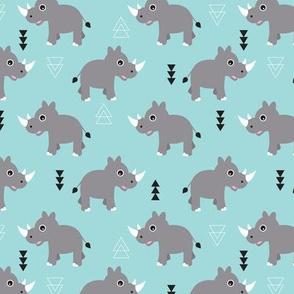 Cute Rhino jungle safari blue geometric woodland animals adorable kids illustration pattern in blue