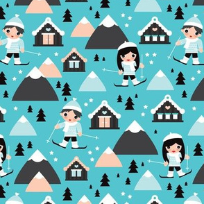 Kids winter wonderland skiing trip mountains and ski slope cabin illustration in gender neutral colors