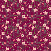 winter floral // pine on garnet // extra small
