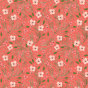 winter floral // pine on tangerine // extra small
