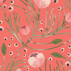 winter floral // pine on tangerine // oversized