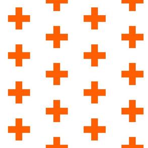 Orange Crosses on White - Orange Plus Sign