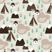 Fall and winter theme colors moose teepee and woodland forrest illustration print for kids