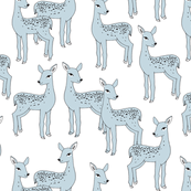 Fawn - Ice Blue on White Background by Andrea Lauren