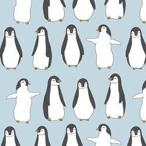 penguin // ice blue penguins pingu fabric birds winter design