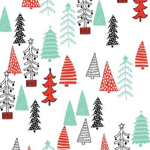 Christmas Tree Forest - Green and Red (2014 colors) by Andrea Lauren