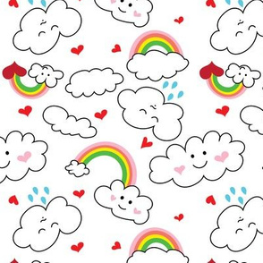 Kawaii Hearts, Rainbows, and Clouds in White