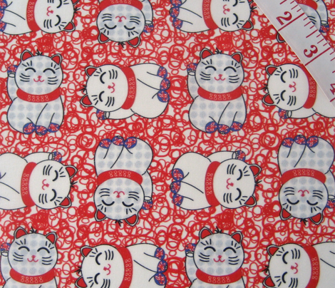 Maneki neko lucky cats, 4 directional on bright red lucky 8s by Su_G